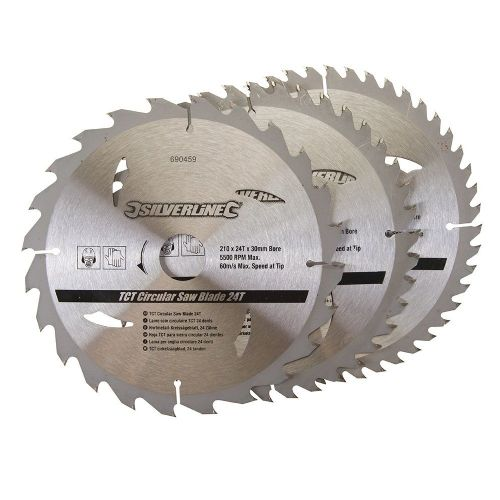3 Pack Silverline 690459 TCT Circular Saw Blades 24, 40, 48 Teeth 210mm x 30mm